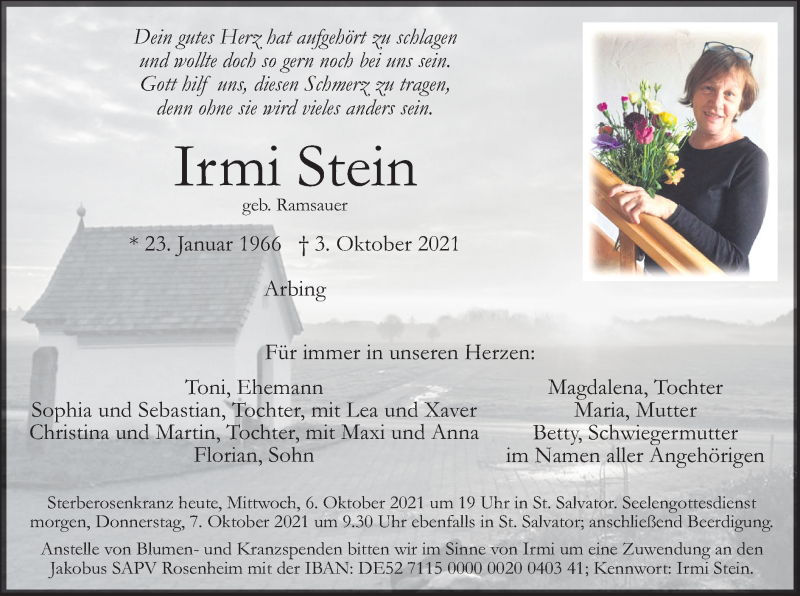 Traueranzeige für Irmi Stein vom 06.10.2021 aus ovb
