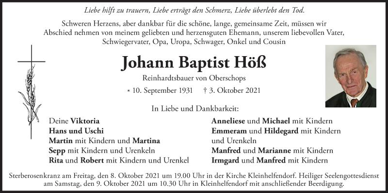 Traueranzeige für Johann Baptist Höß vom 07.10.2021 aus ovb