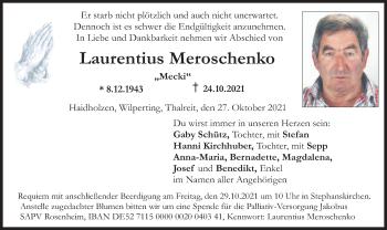 Traueranzeige von Laurentius Meroschenko von ovb