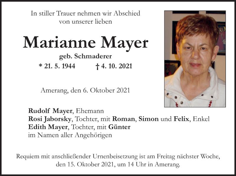 Traueranzeige für Marianne Mayer vom 06.10.2021 aus ovb