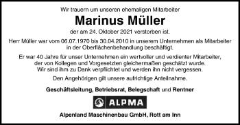Traueranzeige von Marinus Müller von ovb