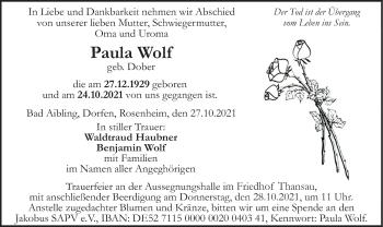 Traueranzeige von Paula Wolf von ovb