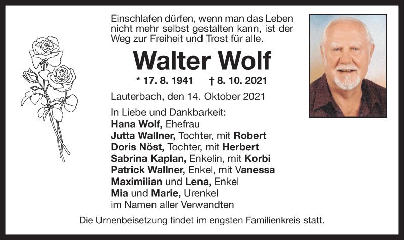 Traueranzeige für Walter Wolf vom 14.10.2021 aus ovb