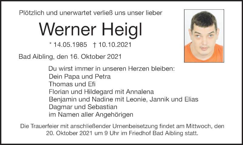 Traueranzeige für Werner Heigl vom 16.10.2021 aus ovb