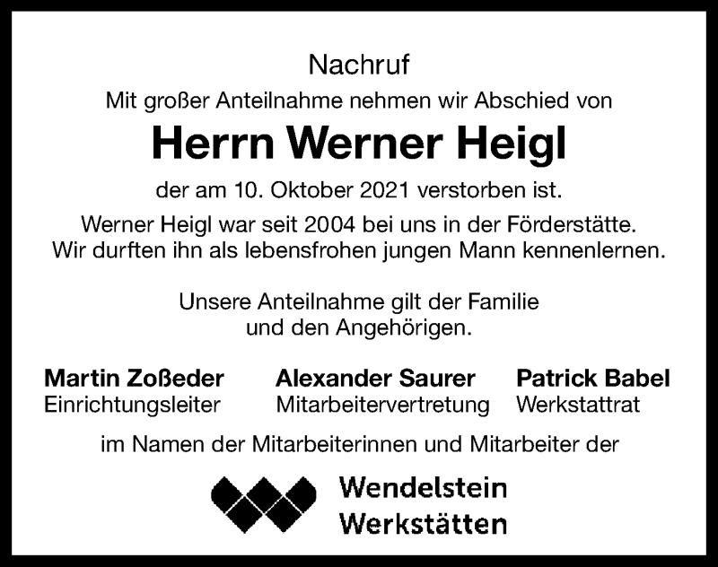 Traueranzeige für Werner Heigl vom 14.10.2021 aus ovb