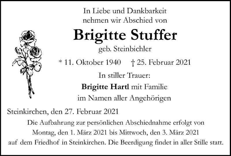 Traueranzeige für Brigitte Stuffer vom 27.02.2021 aus ovb