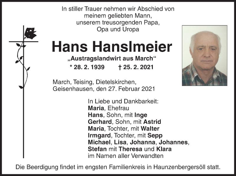 Traueranzeige für Hans Hanslmeier vom 27.02.2021 aus ovb