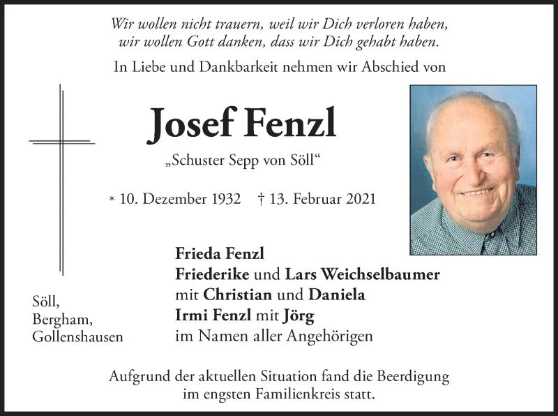 Traueranzeige für Josef Fenzl vom 20.02.2021 aus ovb