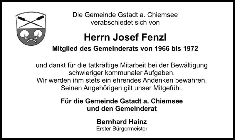 Traueranzeige für Josef Fenzl vom 23.02.2021 aus ovb