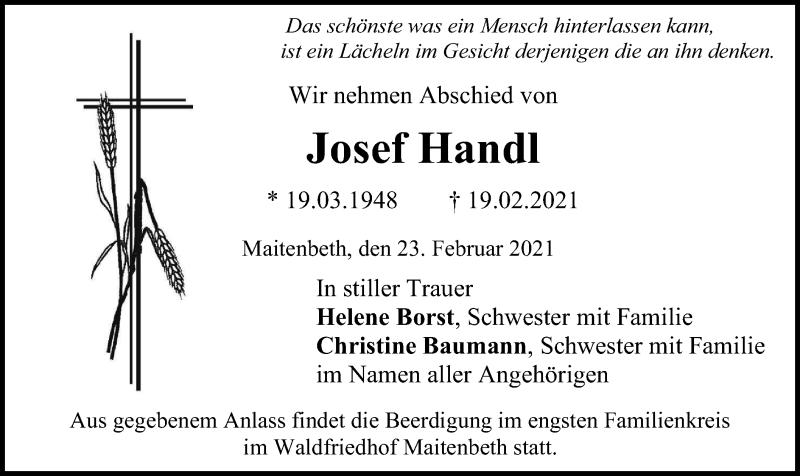 Traueranzeige für Josef Handl vom 23.02.2021 aus ovb