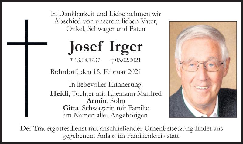 Traueranzeige für Josef Irger vom 15.02.2021 aus ovb