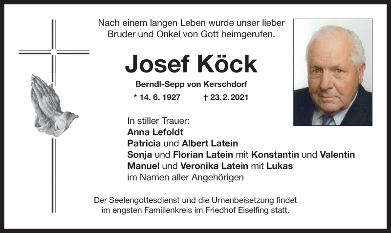 Traueranzeige für Josef Köck vom 27.02.2021 aus ovb