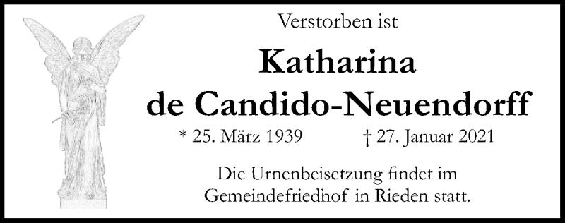 Traueranzeige für Katharina de Candido-Neuendorff vom 05.02.2021 aus ovb