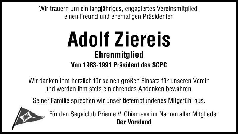 Traueranzeige für Adolf Ziereis vom 02.03.2021 aus ovb