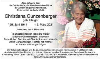 Traueranzeige von Christiana Gunzenberger von ovb