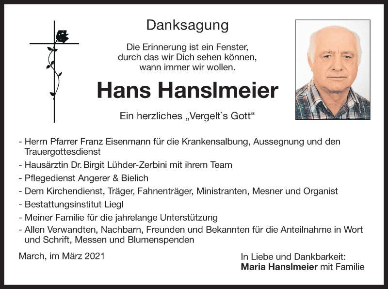 Traueranzeige für Hans Hanslmeier vom 27.03.2021 aus ovb