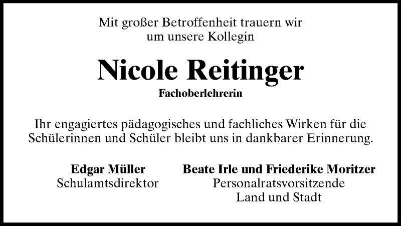Traueranzeige für Nicole Reitinger vom 26.03.2021 aus ovb