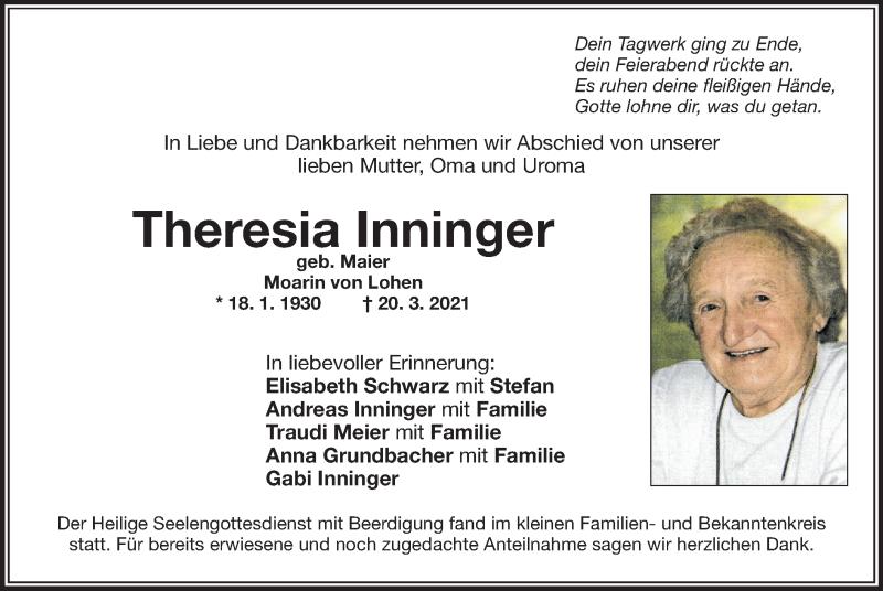 Traueranzeige für Theresia Inninger vom 31.03.2021 aus ovb
