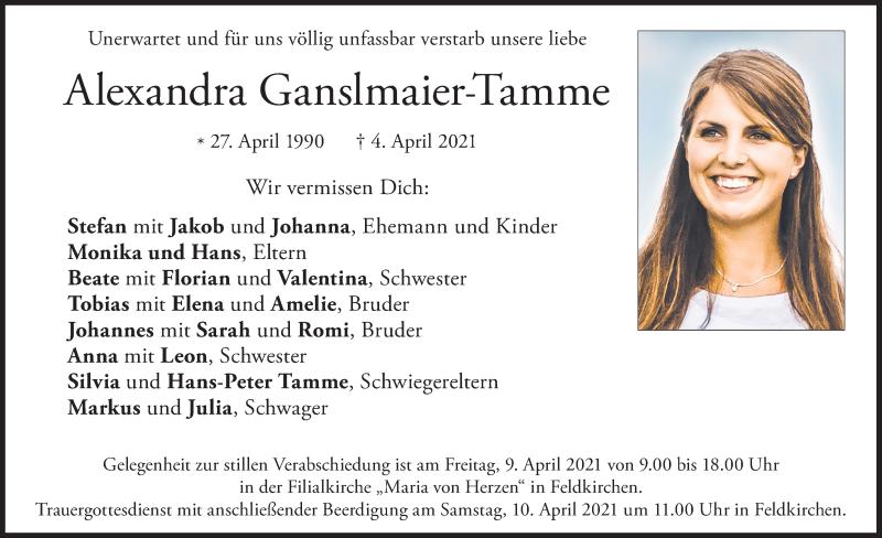 Traueranzeige für Alexandra Ganslmaier-Tamme vom 08.04.2021 aus ovb