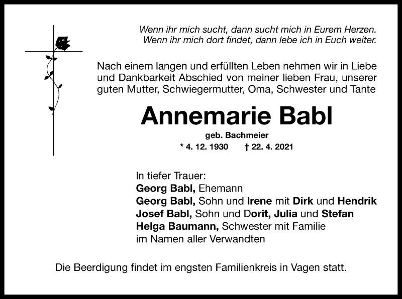 Traueranzeige für Annemarie Babl vom 26.04.2021 aus ovb