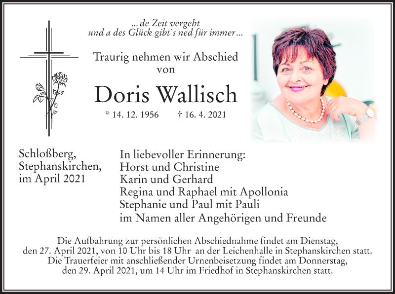 Traueranzeige für Doris Wallisch vom 24.04.2021 aus ovb