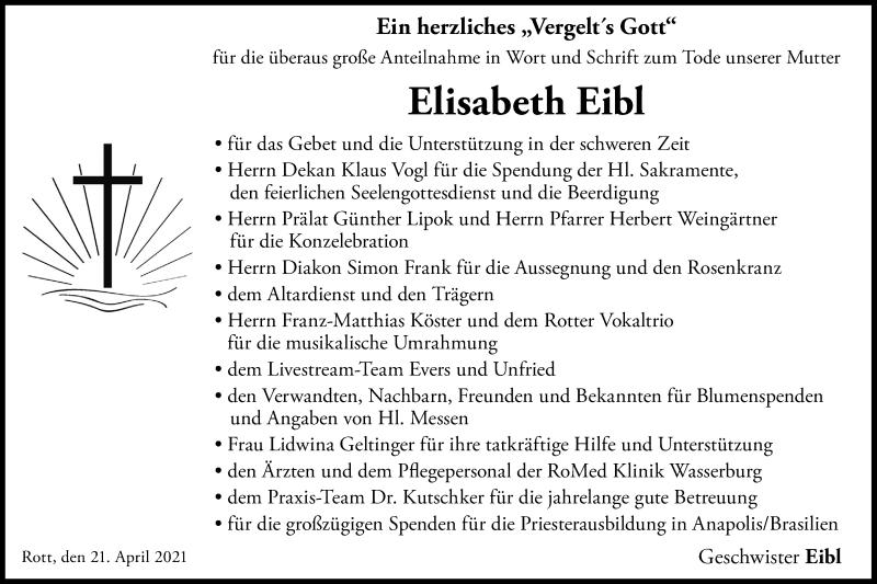 Traueranzeige für Elisabeth Eibl vom 21.04.2021 aus ovb