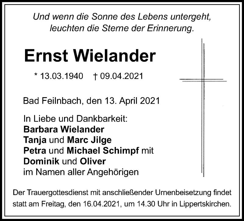 Traueranzeige für Ernst Wielander vom 13.04.2021 aus ovb