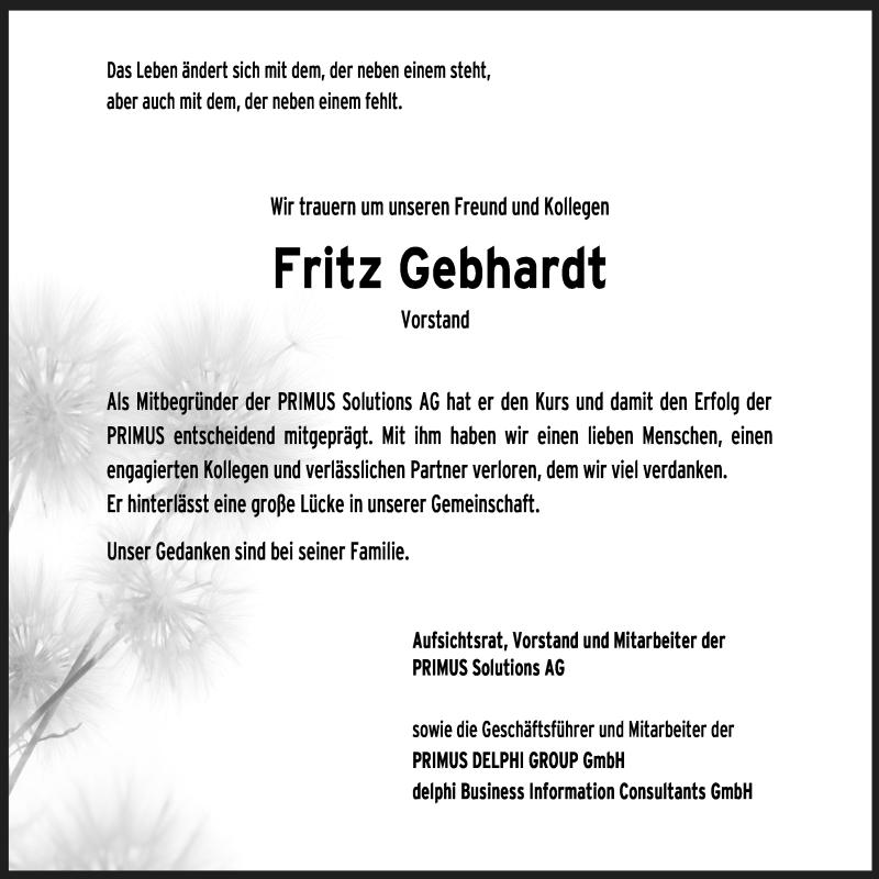 Traueranzeige für Fritz Gebhardt vom 13.04.2021 aus ovb
