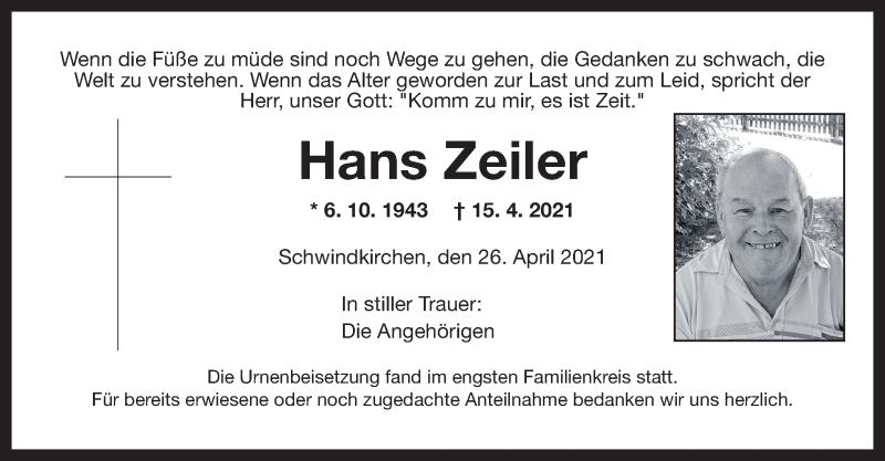 Traueranzeige für Hans Zeiler vom 26.04.2021 aus ovb