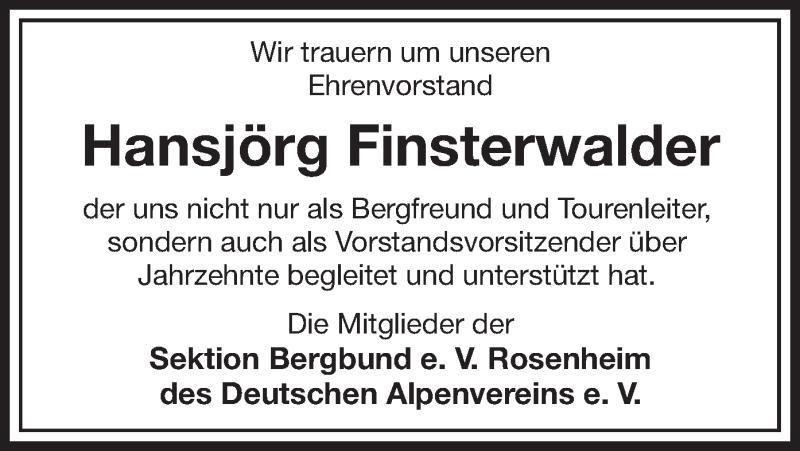 Traueranzeige für Hansjörg Finsterwalder vom 30.04.2021 aus ovb