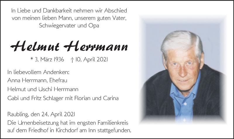 Traueranzeige für Helmut Herrmann vom 24.04.2021 aus ovb