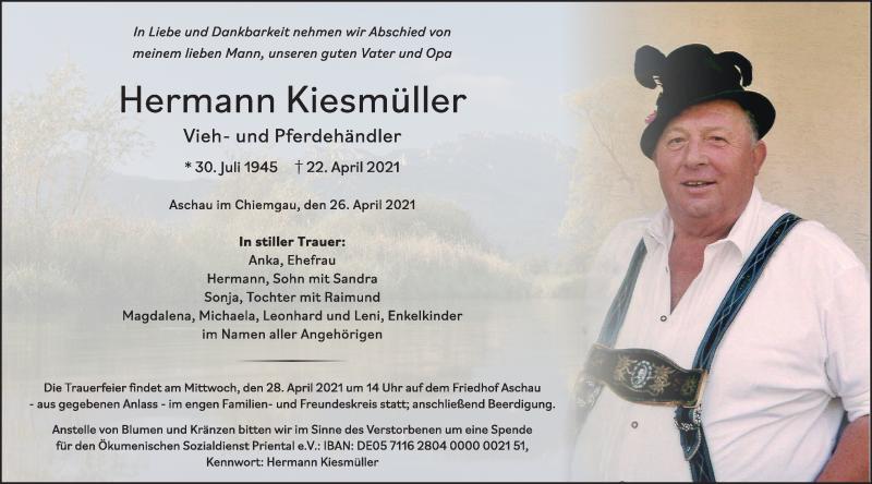 Traueranzeige für Hermann Kiesmüller vom 26.04.2021 aus ovb