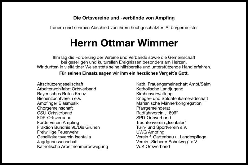 Traueranzeige für Ottmar Wimmer vom 30.04.2021 aus ovb