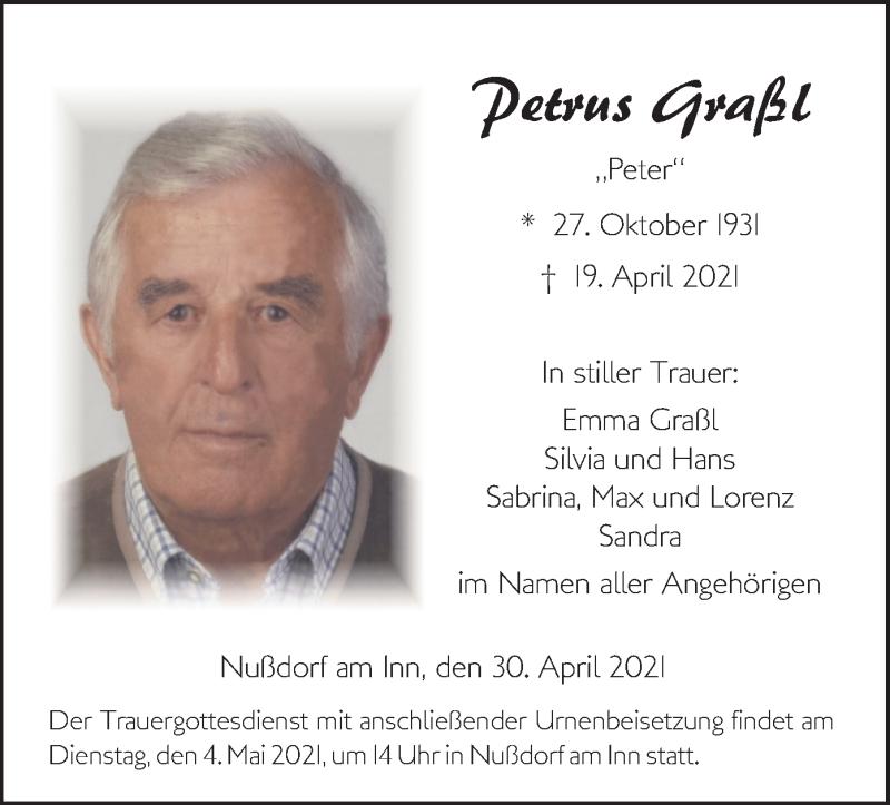 Traueranzeige für Petrus Graßl vom 30.04.2021 aus ovb
