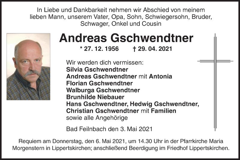 Traueranzeige für Andreas Gschwendtner vom 03.05.2021 aus ovb