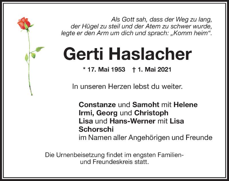 Traueranzeige für Gerti Haslacher vom 05.05.2021 aus ovb