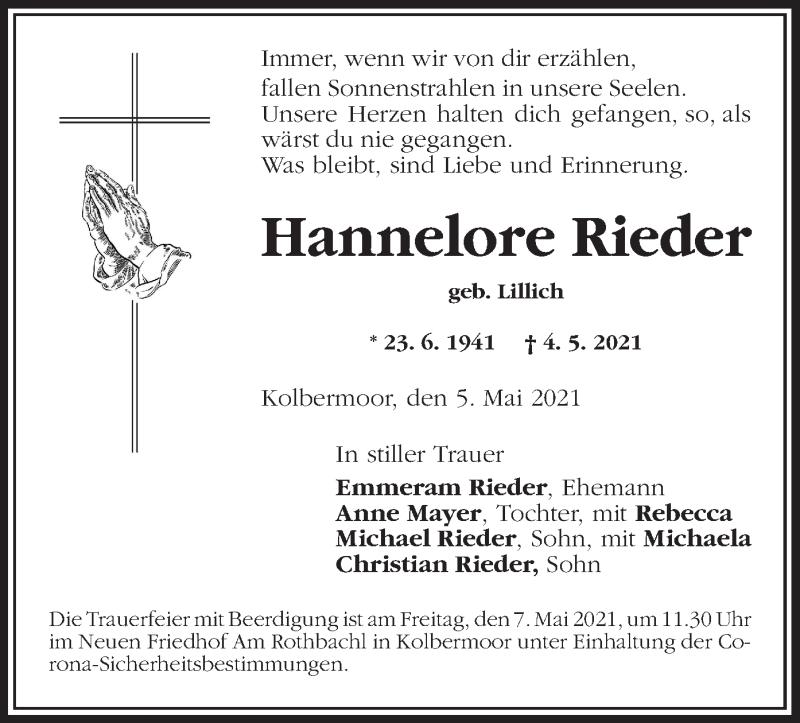 Traueranzeige für Hannelore Rieder vom 05.05.2021 aus ovb