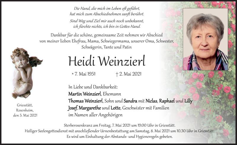 Traueranzeige für Heidi Weinzierl vom 05.05.2021 aus ovb
