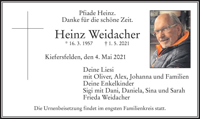 Traueranzeige für Heinz Weidacher vom 04.05.2021 aus ovb