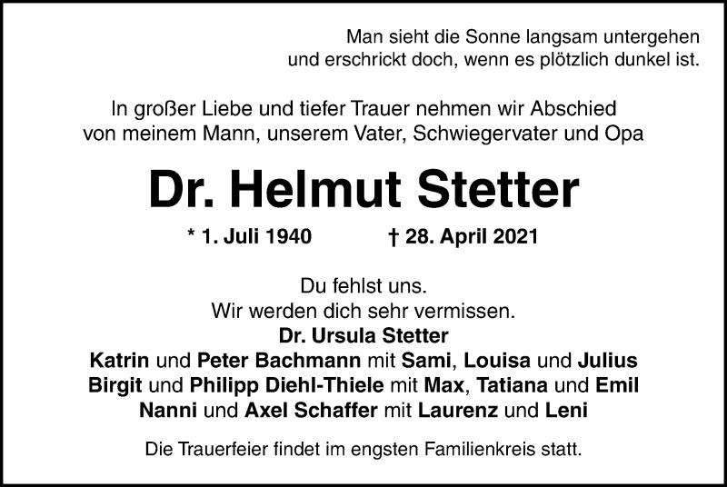 Traueranzeige für Helmut Stetter vom 03.05.2021 aus ovb