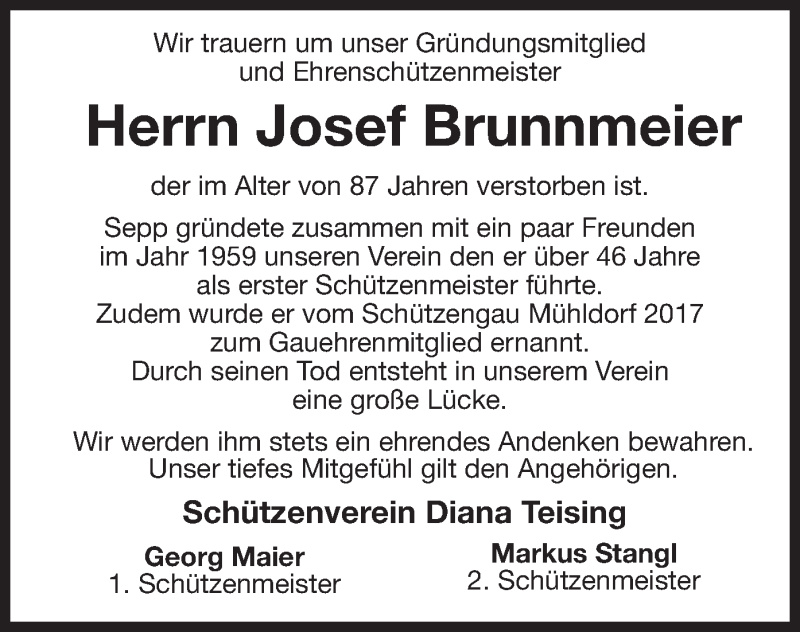 Traueranzeige für Josef Brunnmeier vom 06.05.2021 aus ovb