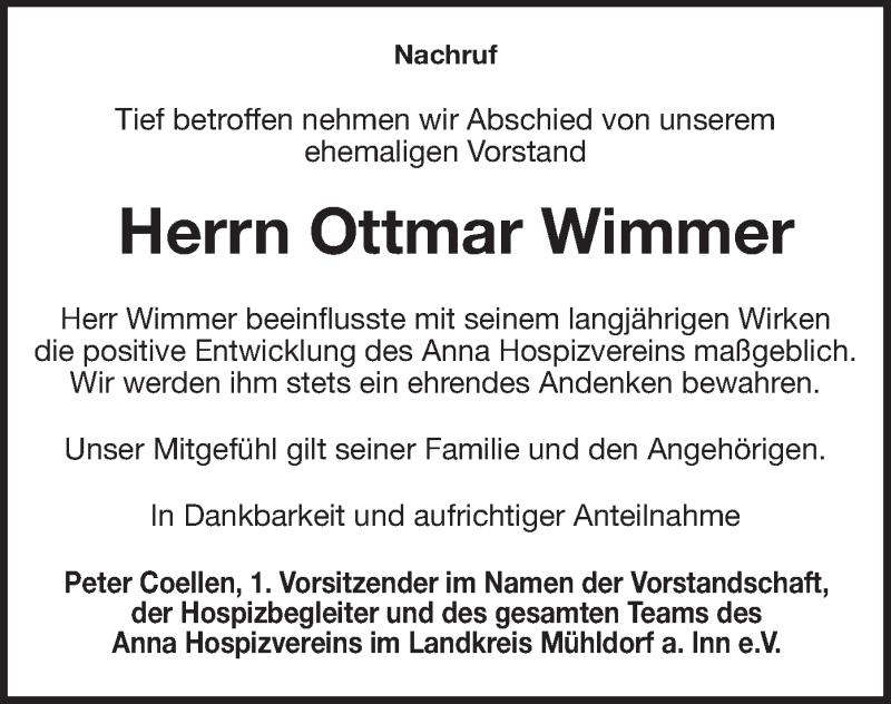 Traueranzeige für Ottmar Wimmer vom 04.05.2021 aus ovb