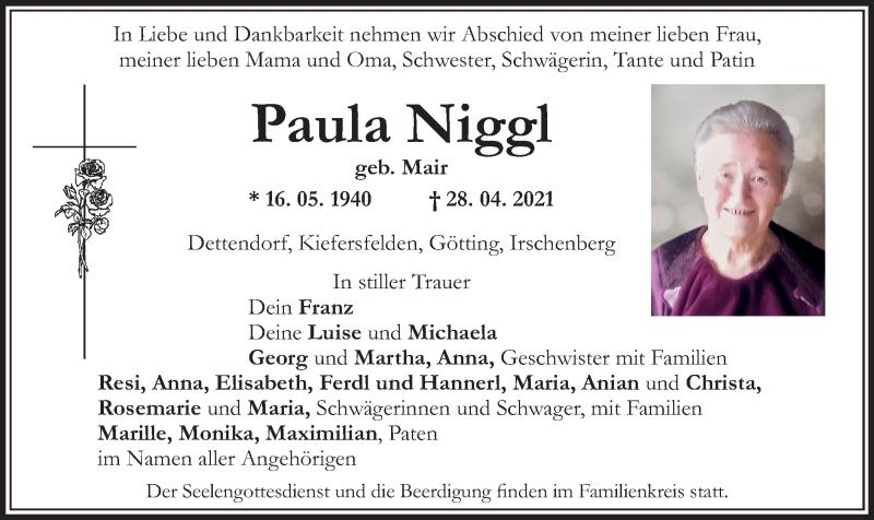 Traueranzeige für Paula Niggl vom 03.05.2021 aus ovb
