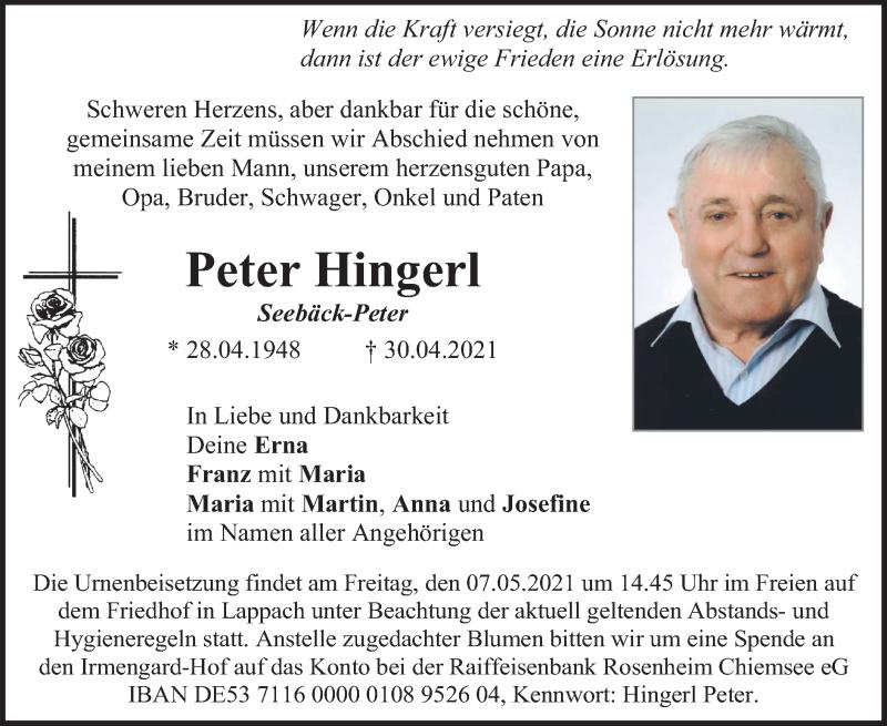 Traueranzeige für Peter Hingerl vom 05.05.2021 aus ovb