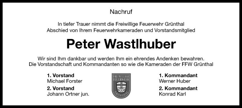 Traueranzeige für Peter Wastlhuber vom 08.05.2021 aus ovb