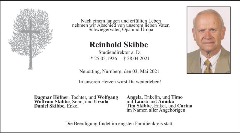 Traueranzeige für Reinhold Skibbe vom 03.05.2021 aus ovb