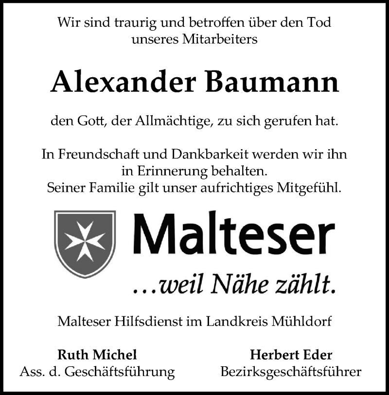 Traueranzeige für Alexander Baumann vom 11.05.2021 aus ovb