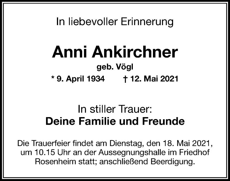 Traueranzeige für Anni Ankirchner vom 15.05.2021 aus ovb
