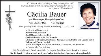 Traueranzeige von Cäcilia Bauer von ovb