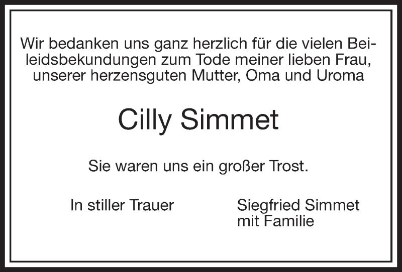 Traueranzeige für Cilly Simmet vom 22.05.2021 aus ovb
